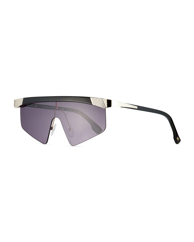 Le Specs Sunglasses ENGINEER SEMI-RIMLESS AVIATOR SHIELD SUNGLASSES