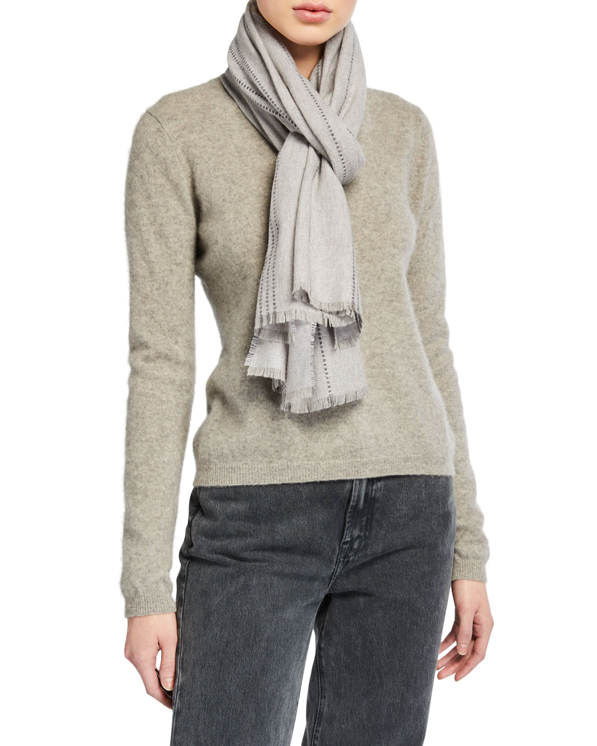 Eileen Fisher Accessories WOOL-BLEND STRIPED SCARF