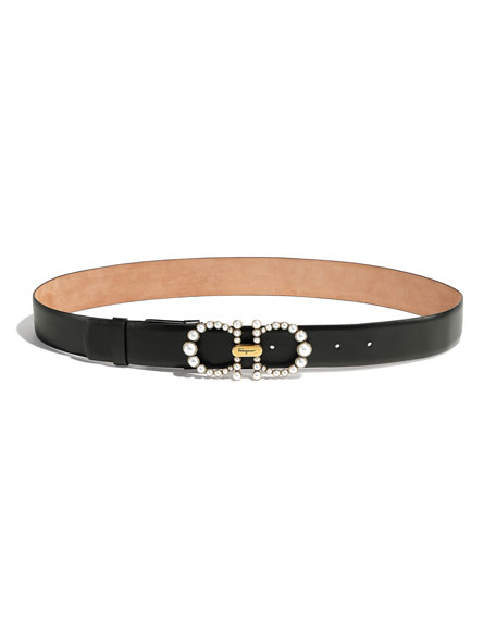 Salvatore Ferragamo Pearly Gancini Leather Belt