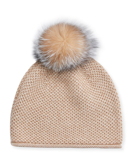Sofia Cashmere Honeycomb Metallic Beanie Hat w/ Fur Pompom