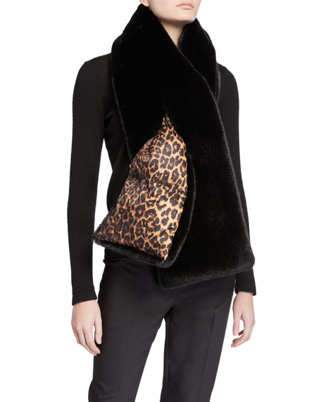 Heurueh Leopard Print & Faux Fur Double-Face Puffer Scarf