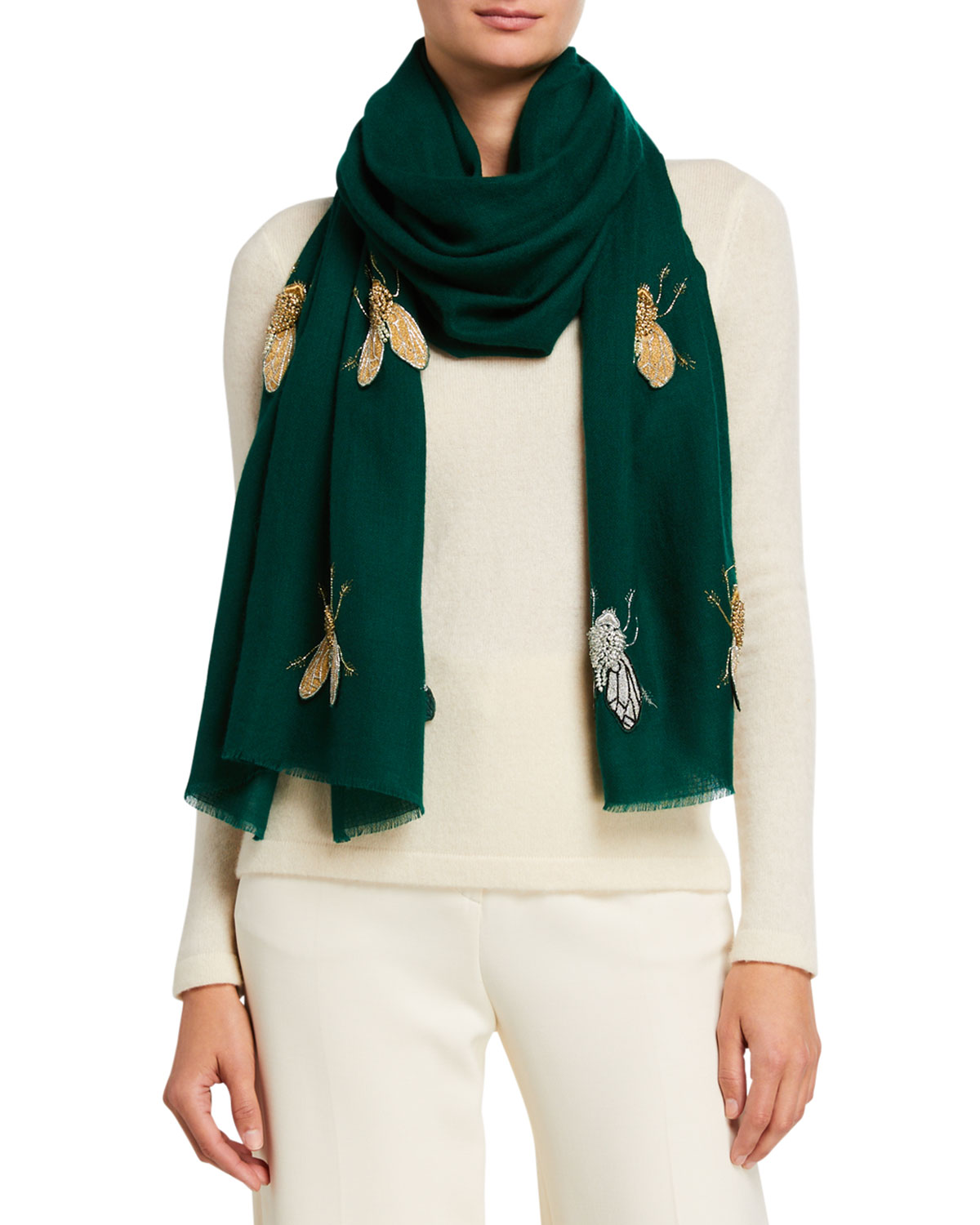 K Janavi Beaded Flies Cashmere Scarf In Emerald