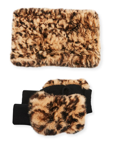 Texty Time Fur Gloves & Snood Scarf Set