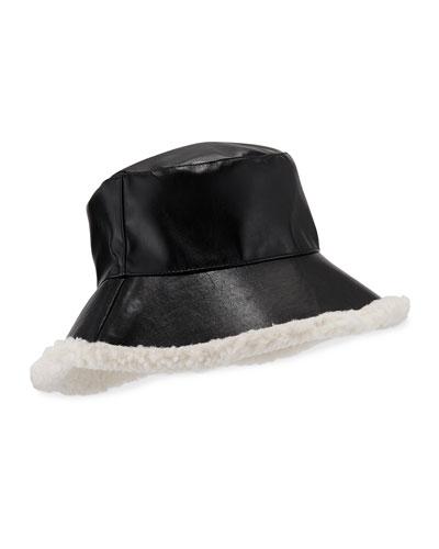 Billie Faux Leather Bucket Hat w/ Contrast Faux Fur Trim