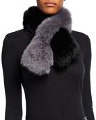 Charlotte Simone Polly Pop Two-Tone Fox Fur Scarf