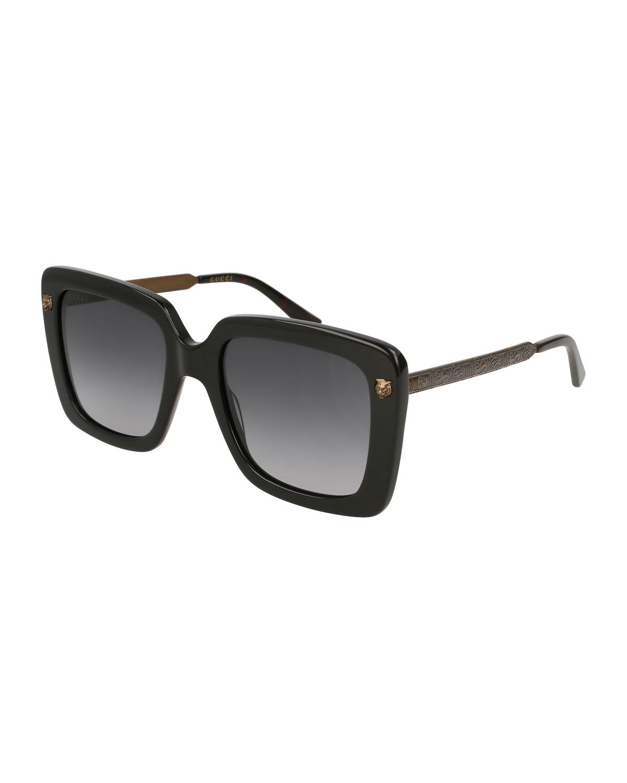 Gucci Acetate Square Tiger Sunglasses, Black