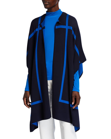 St. John Collection Reversible Graphic Windowpane Double-Knit Cape