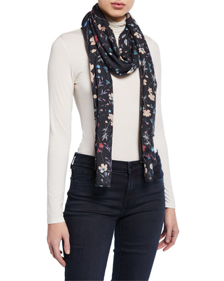 Lily and Lionel Night Garden Modal-Cashmere Scarf