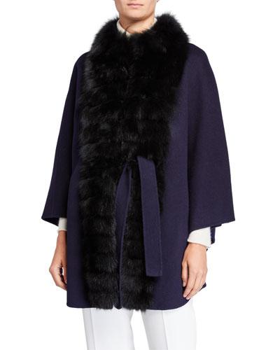 Wool-Blend Fox Fur-Trim Cape Coat