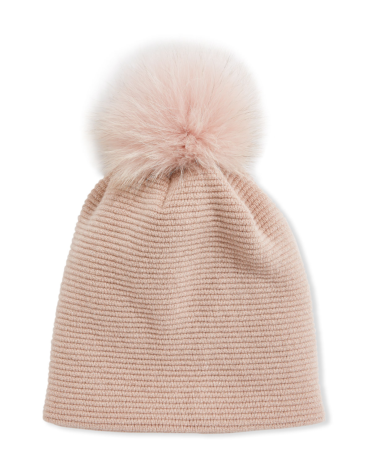 Inverni MERINO WOOL-BLEND KNIT BEANIE HAT W/ FOX FUR POMPOM