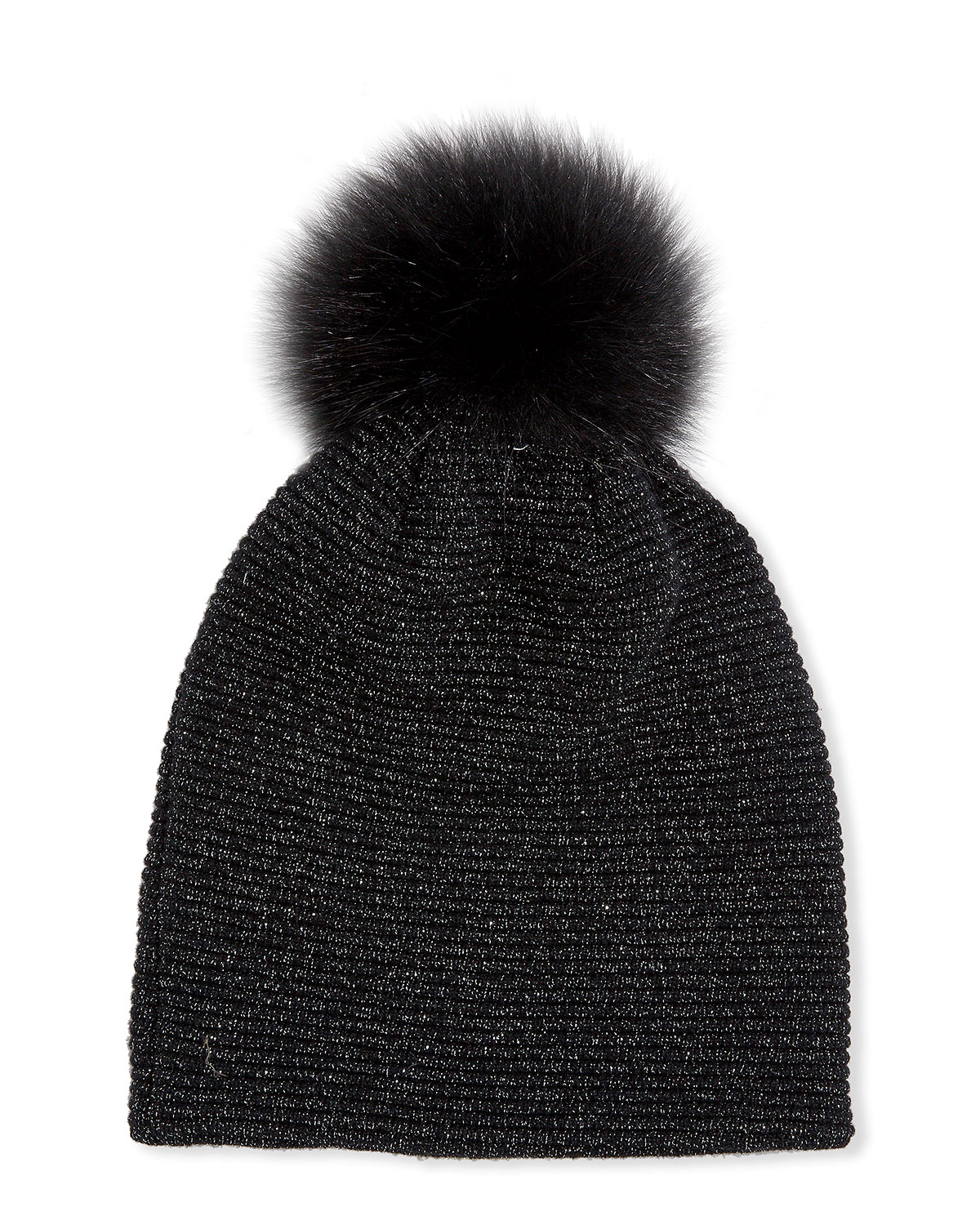 Inverni MERINO WOOL-BLEND METALLIC KNIT BEANIE HAT W/ FOX FUR POMPOM