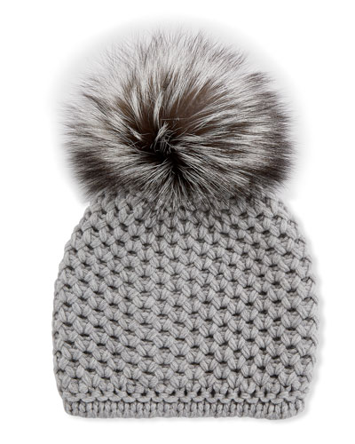 Honeycomb Cashmere Beanie Hat w/ Fox Fur Pompom