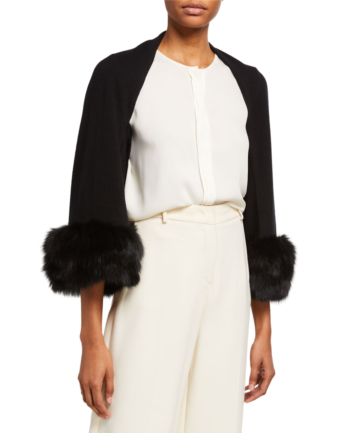 Belle Fare Tops CASHMERE BLEND SHRUG W/ OVERSIZED FOX FUR CUFFS