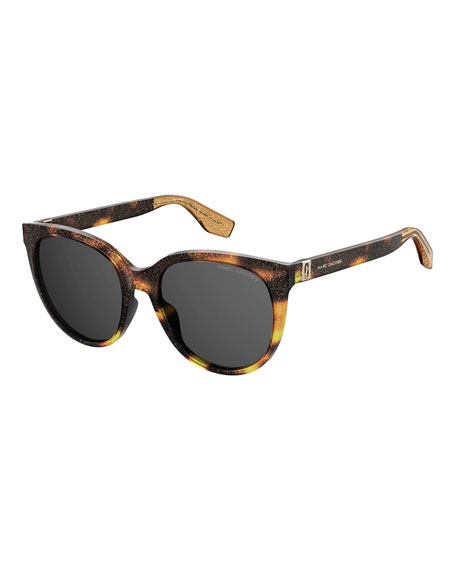 The Marc Jacobs Round Glittered Acetate Sunglasses