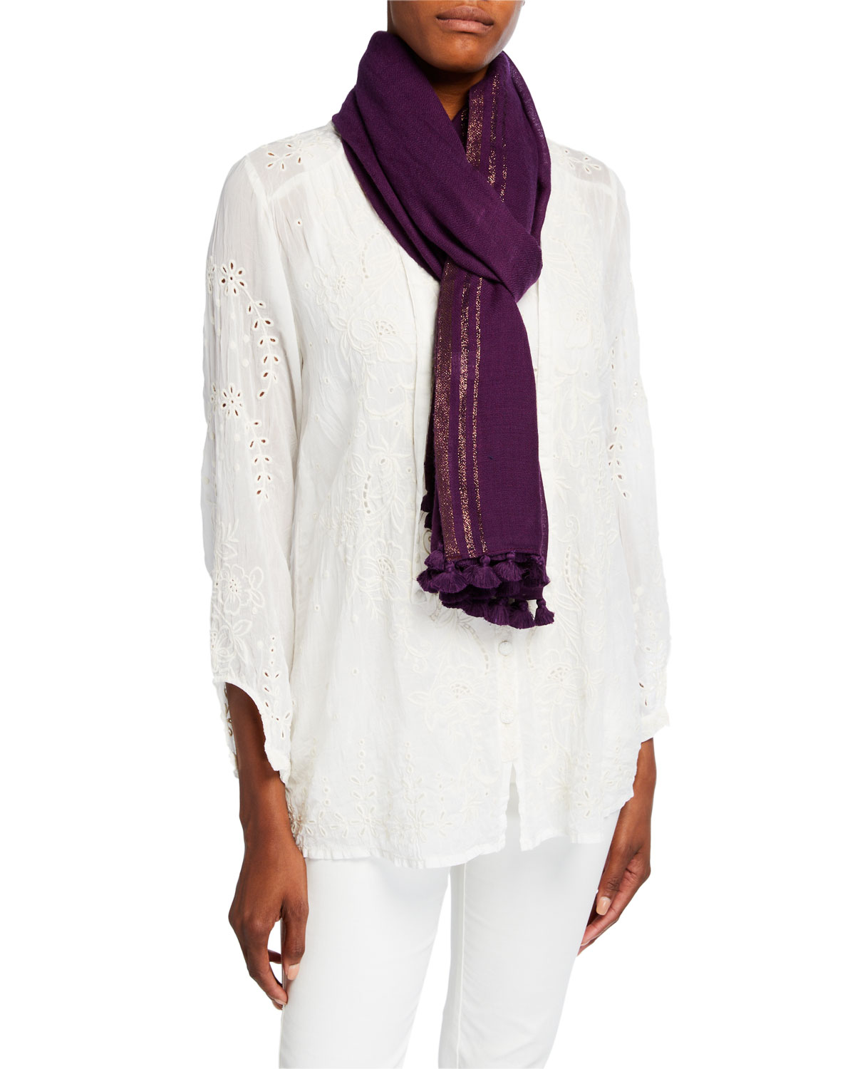 Eileen Fisher Accessories TASSELED WOOL SHIMMER SCARF