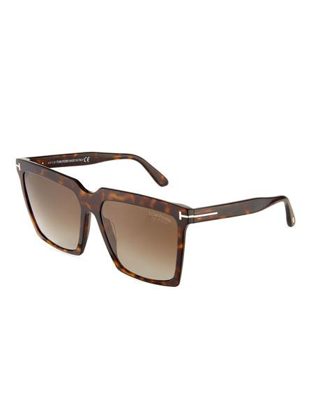 TOM FORD Sabrina Square Plastic Sunglasses