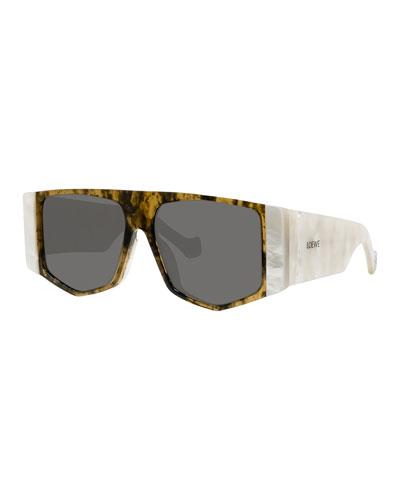 Two-Tone Acetate Shield Sunglasses