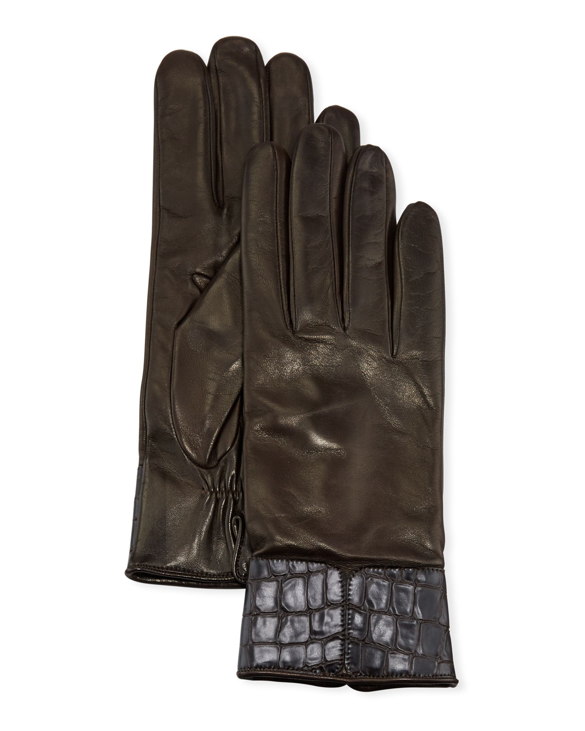 Portolano Gloves CASHMERE-LINED NAPA LEATHER GLOVES W/ CROC EMBOSSED CUFFS