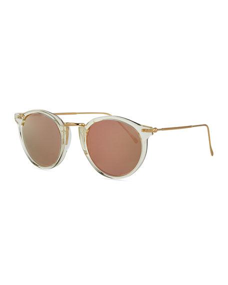 Illesteva Round Mirrored Metal & Acetate Sunglasses