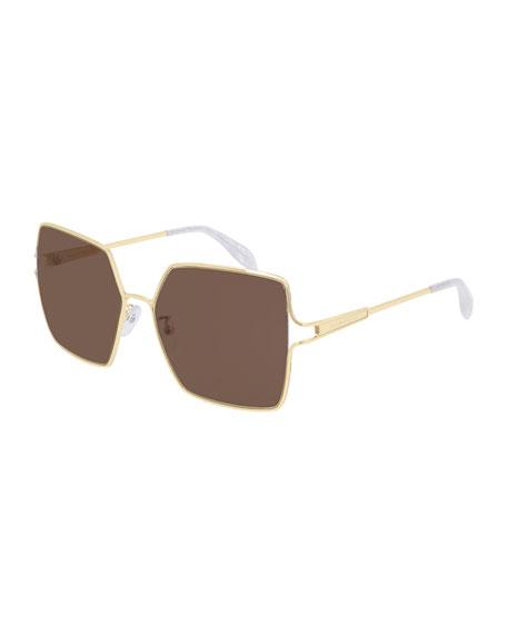 Alexander McQueen Square Metal Sunglasses
