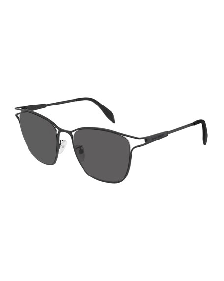 Alexander McQueen Square Metal Cutout Sunglasses