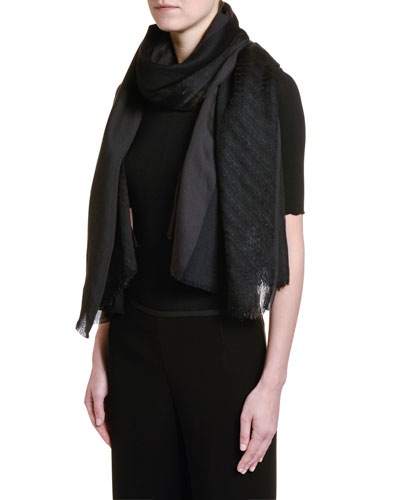 Metallic Wool Scarf, Black