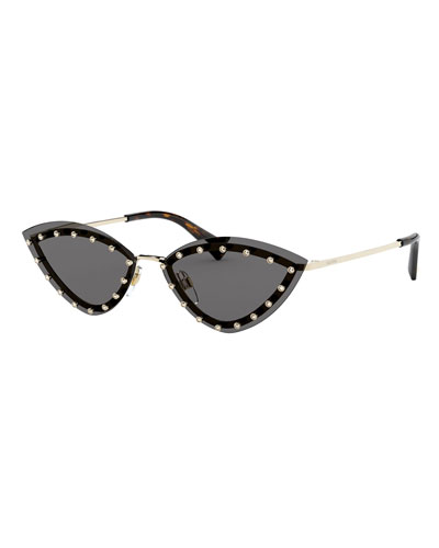Rimless Cat-Eye Sunglasses w/ Crystal Trim
