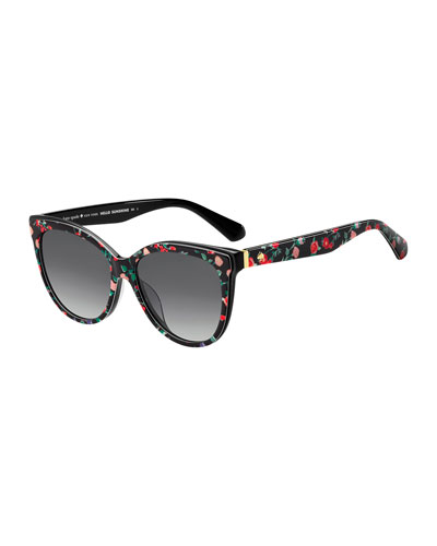daeshas round polarized acetate sunglasses, black