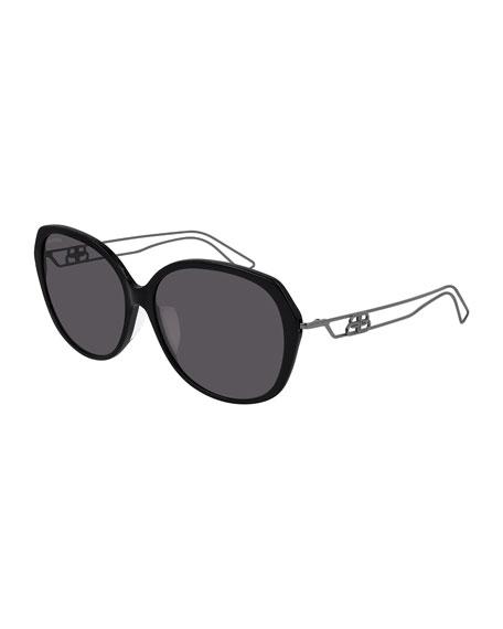Balenciaga Acetate & Metal Round Sunglasses