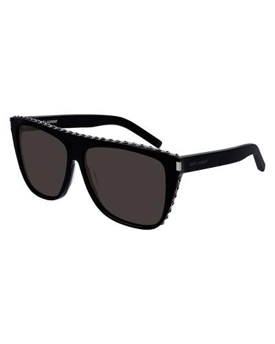 Two-Tone Acetate Rectangle Sunglasses