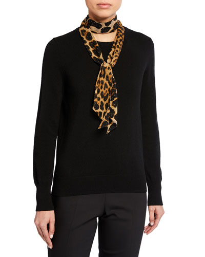 Leopard Print Studded Lavalliere Scarf