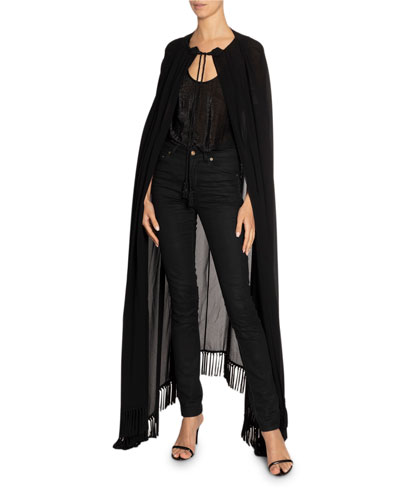 Sheer Tie-Neck Fringed Cape