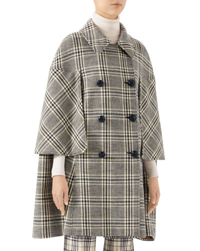 Checked Wool Cape Coat
