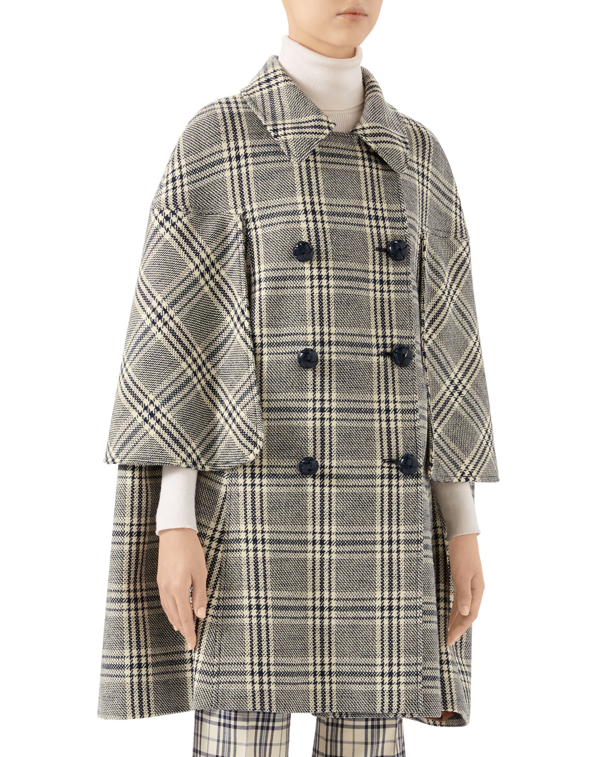 Gucci Coats CHECKED WOOL CAPE COAT
