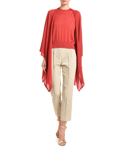 Cashmere Featherweight Open-Front Poncho