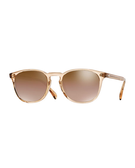 Oliver Peoples Finley Round Mirrored Acetate Sunglasses