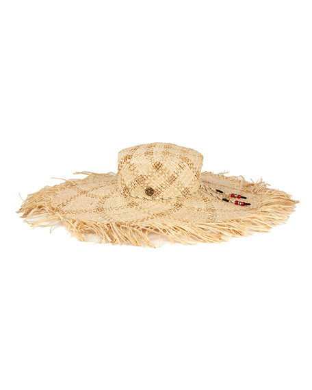 Maison Michel Ursula Open Raffia Large Brim Hat