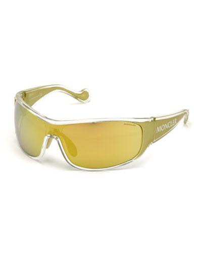 Mirrored Wrap Shield Sunglasses