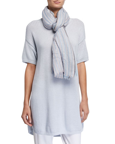 Striped Shine Wool/Silk Scarf