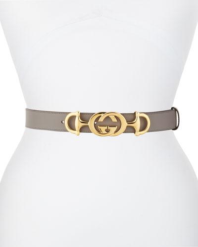 Interlocking GG Horsebit Leather Belt