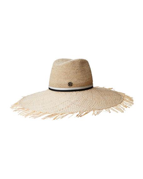 Maison Michel Big Kate Crochet Straw Large Brim Hat