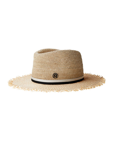 Maison Michel Andre Crochet Straw Fedora Hat