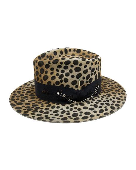 Nick Fouquet Lynx Animal Print Beaver Felt Fedora Hat