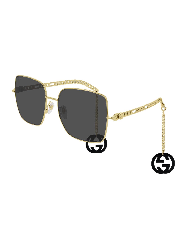 Square Metal Chain Sunglasses w/ Interlocking G Drops