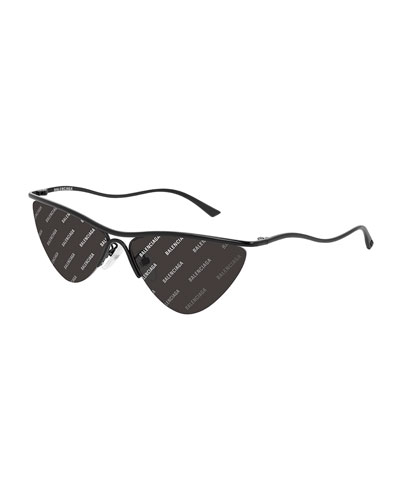 Semi-Rimless Metal Cat-Eye Sunglasses w/ Logo Lenses