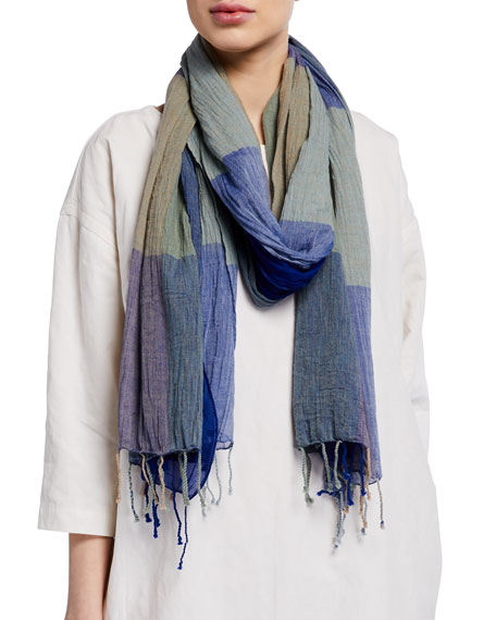 Eileen Fisher Check Organic Cotton Scarf