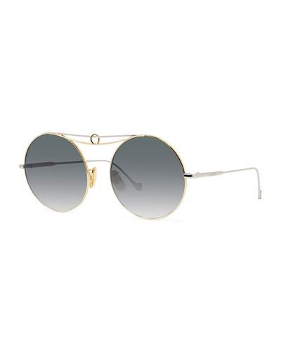 Round Metal Ring Gradient Sunglasses