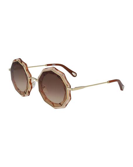 Chloe Caite Geometric Sunglasses