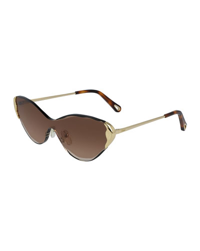 Rimless Cat-Eye Shield Sunglasses