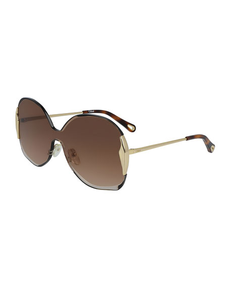 Chloe Rimless Shield Sunglasses